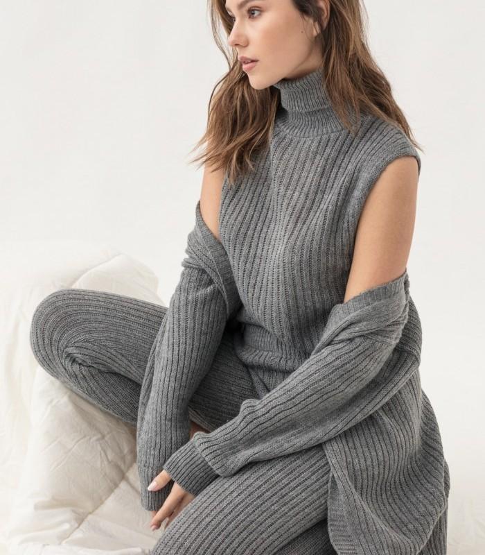 Matching knit top and cardigan set