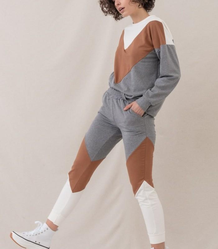 Pantalón largo de tonos tricolor y elástico