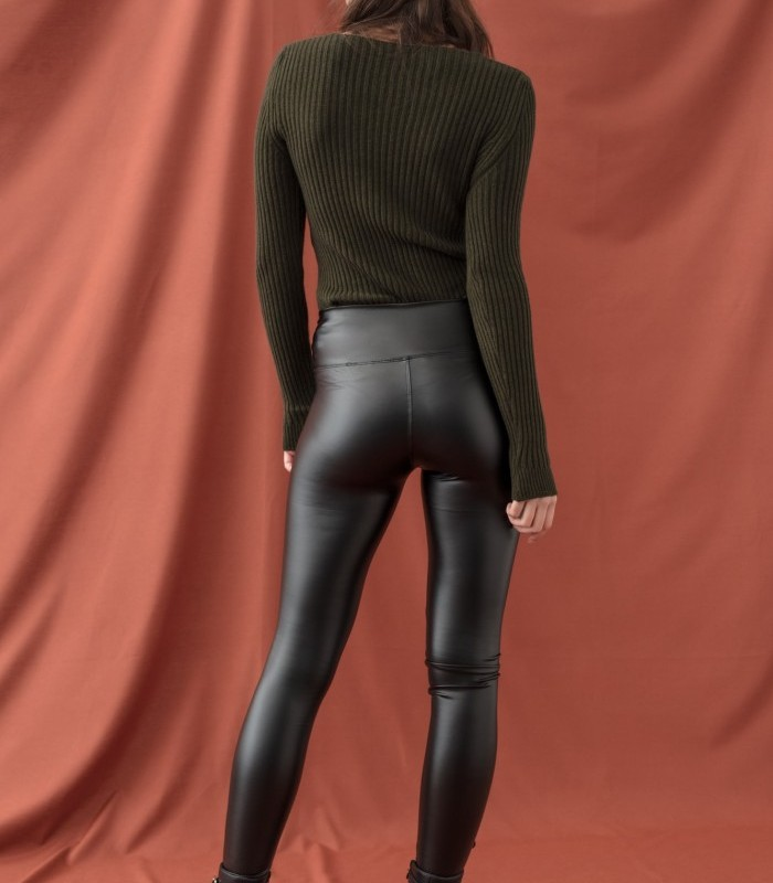 Long waxed effect leggings with glitter finish