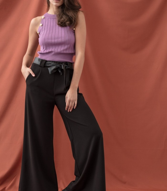 Long palazzo-style trousers with flowing fabric