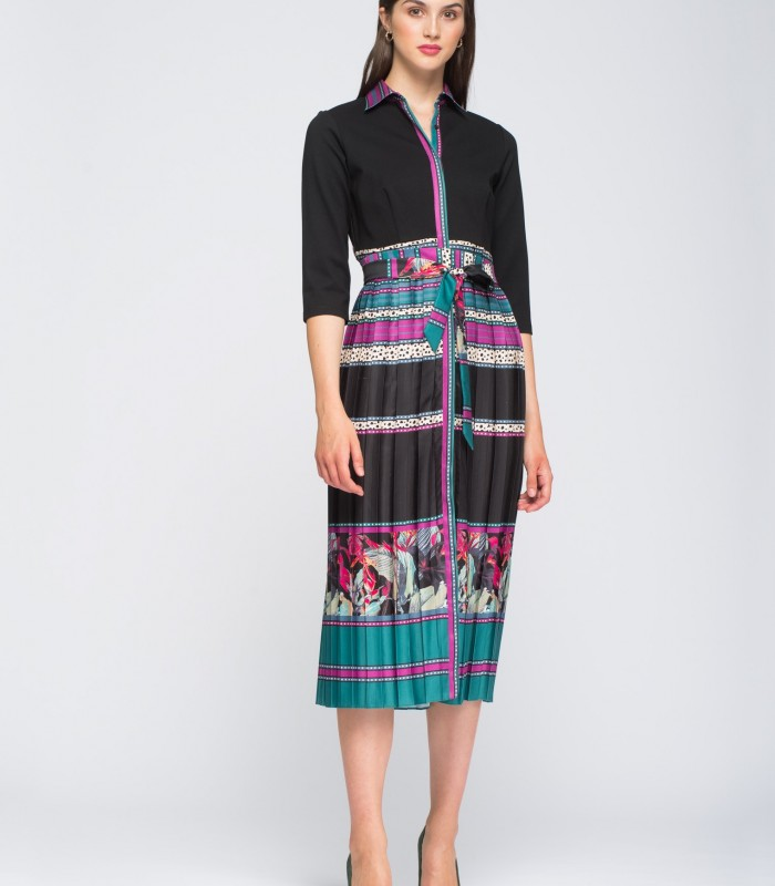 Vestido midi de tallas y colores a contraste