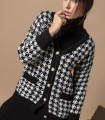 Houndstooth print cardigan with central buttons
