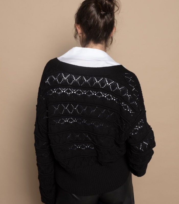 Openwork knit cardigan with shiny buttons