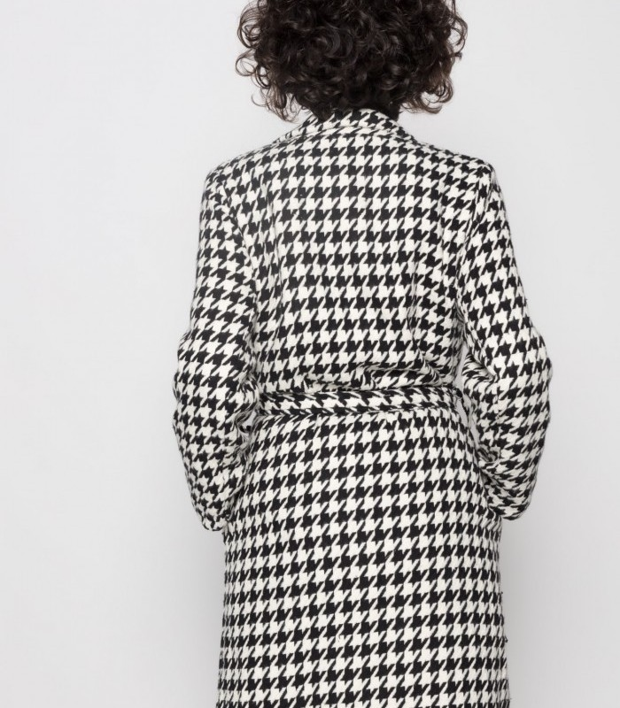 Double-breasted houndstooth print coat with bow included