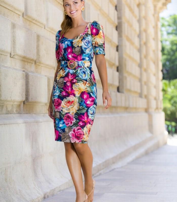 Vestido de estampado floral ajustado a la cintura con cinturón