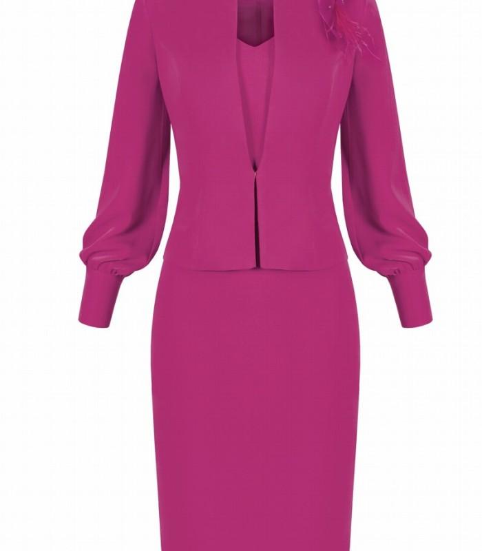 Conjunto chaqueta y vestido corto con detalle pedrería en la cintura