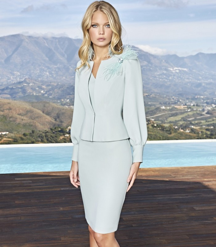 Jacket and short dress set with beaded detail on the waist