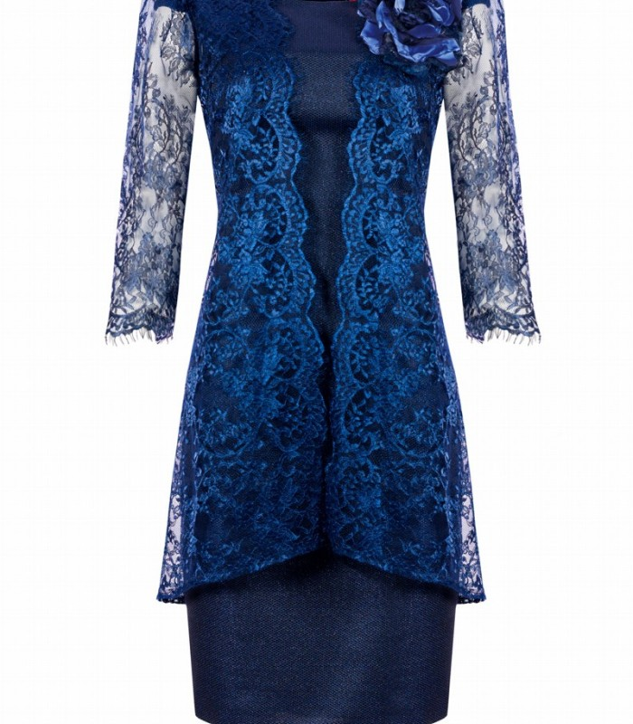 Lace frock coat and short dress with lace on the shoulders
