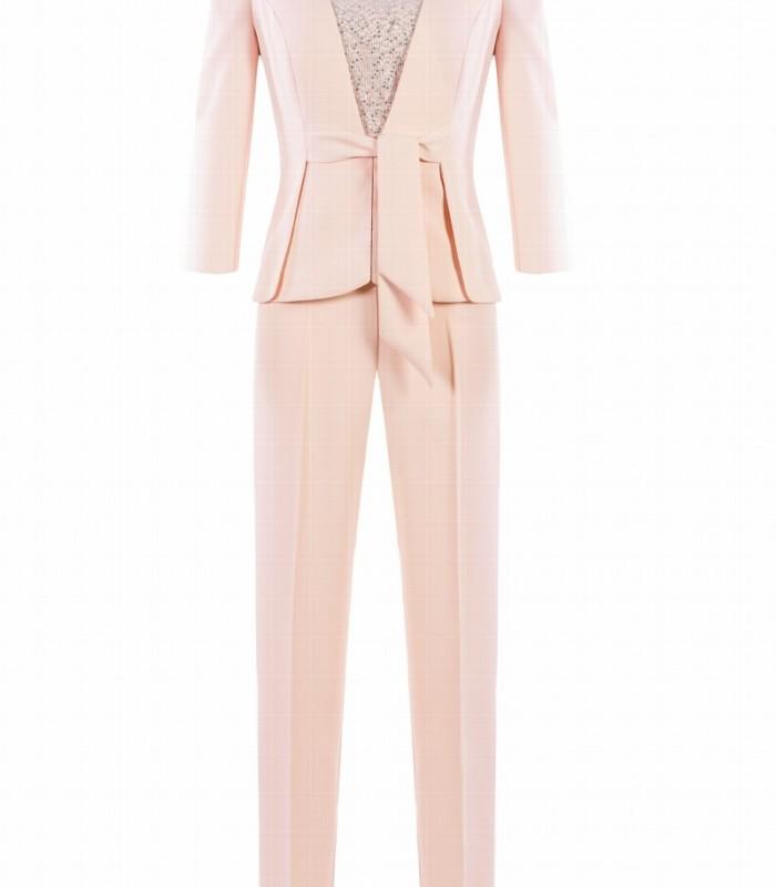 Conjunto de chaqueta top semitransparente y pantalón