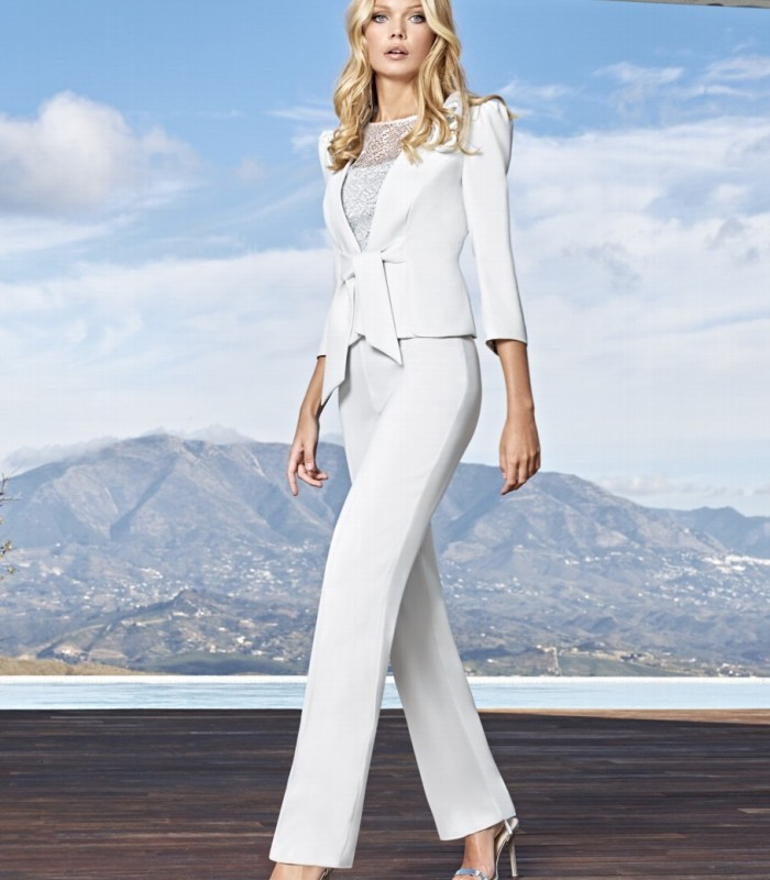 Semitransparent jacket top and pants set