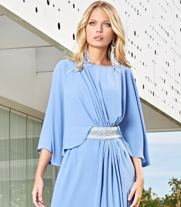 Ruched and asymmetric short dress with tie at the waist