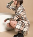 Long checked coat with lapel neck and fringes
