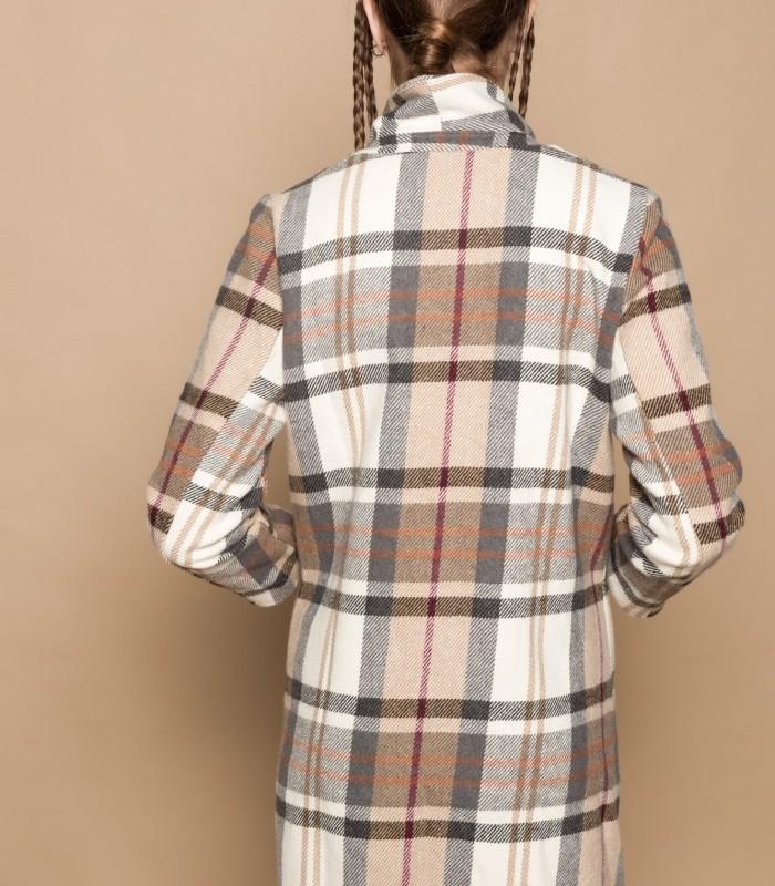 Abrigo largo de cuadros con cuello solapa y flecos
