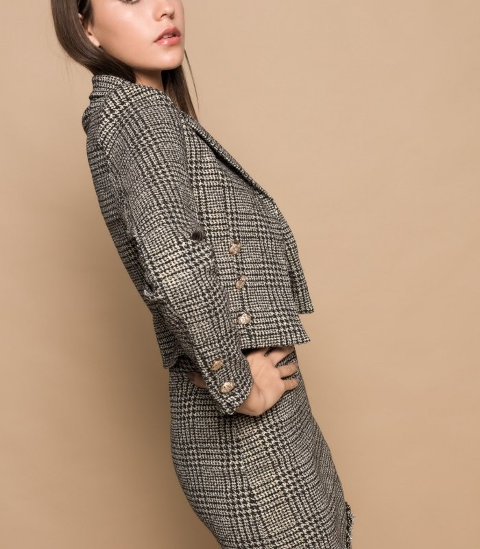 Short blazer with houndstooth print and lapel collar