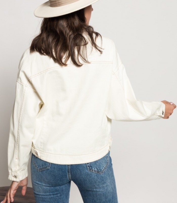 Lapel neck jacket with long puff sleeves