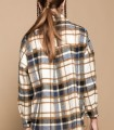 Long sleeve plaid overshirt with buttons