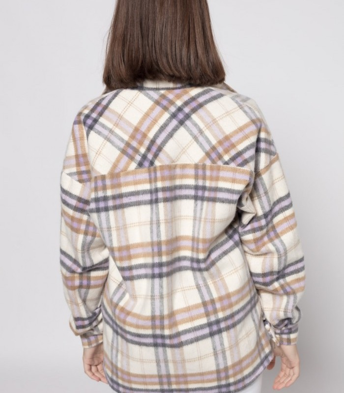 Long-sleeved checked overshirt with front pockets
