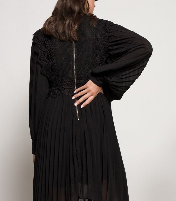 Midi dress with crochet details and buttoned long sleeves