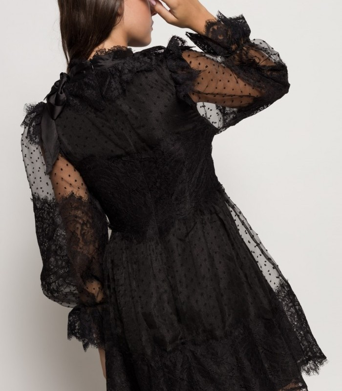 Black plumetti dress with round neck and long sleeves