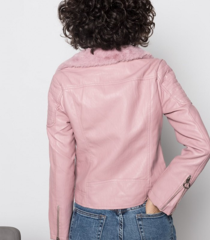 Pink jacket with lapel collar