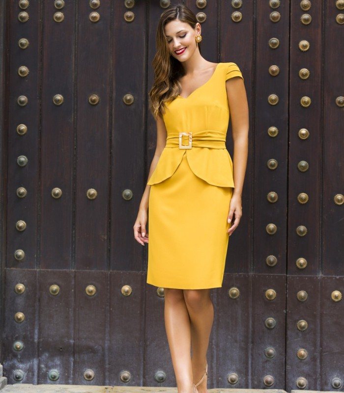 Short straight dress with overskirt and buckle belt
