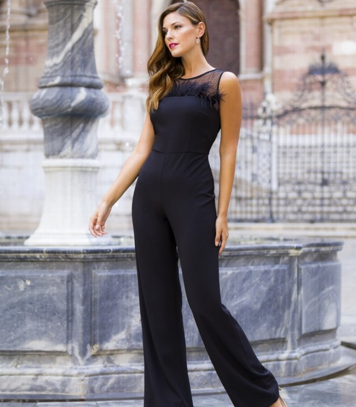 Black Jumpsuit with Feather Strapless Neckline