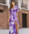 Mauve print dress with deep neckline with slit