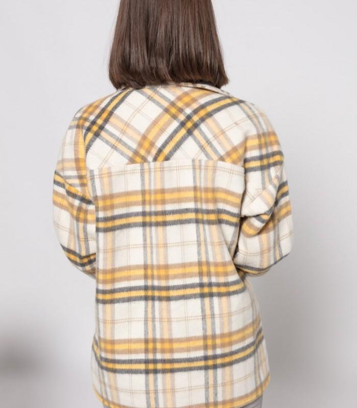 Sobrecamisa de cuadros con cuello solapa y manga larga