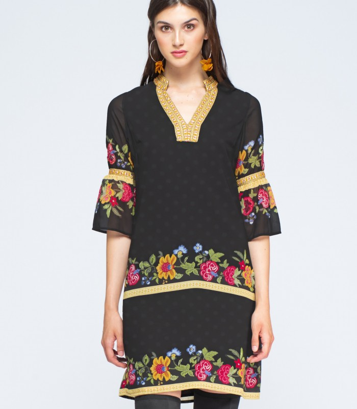 Short black dress with embroidery on sleeves and skirt
