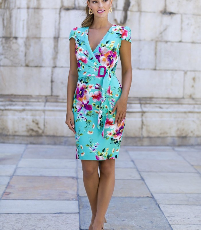 Floral print wrap dress with buckle