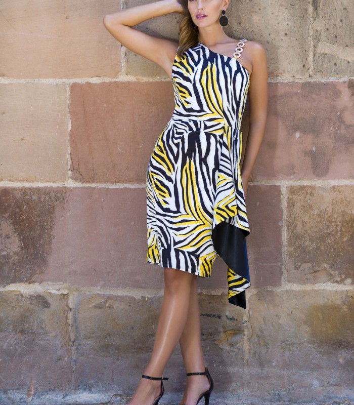 Animal print dress with chain on shoulder and ruffle at waist
