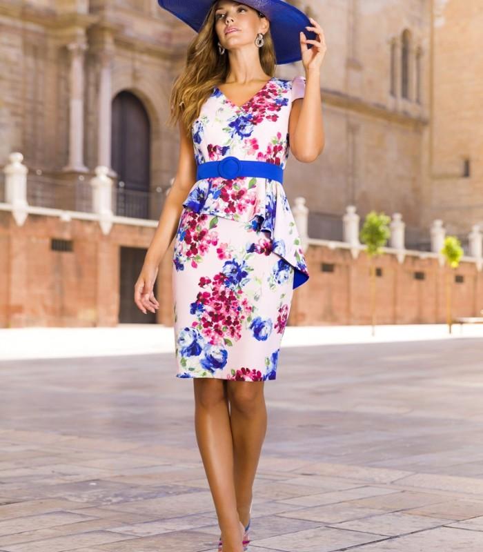Vestido corto de estampado floral con volante en cintura y cinturón