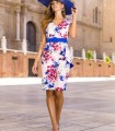 Short floral print dress with ruffle at waist and belt