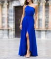 Long wrap dress with asymmetric neckline and side slit