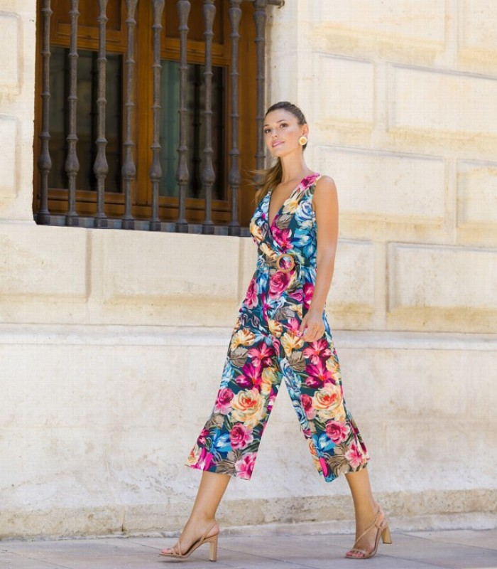 Printed midi jumpsuit with crossover neckline and tie at waist