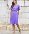 Short-sleeved pleated dress with beaded detail at the waist
