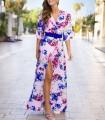 Floral print wrap dress with belt and side slit