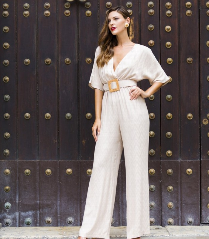 Long jumpsuit with geometric design with a crossover neckline and French sleeves