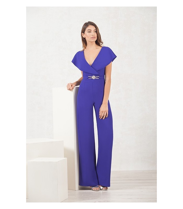 Long jumpsuit with a crossover neckline with ruffle and trim at the waist