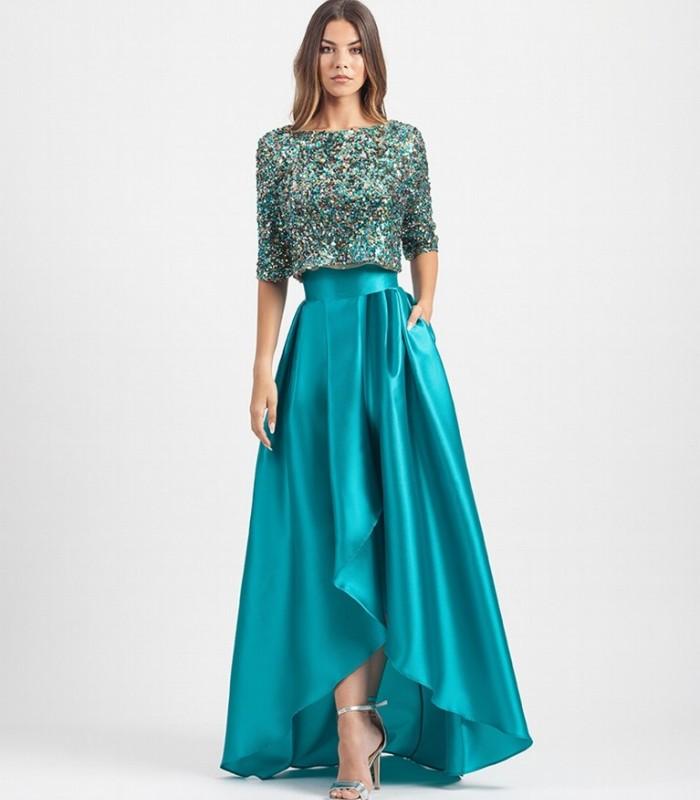 Turquoise Asymmetric Tables Midi Skirt