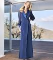 Gigot Sleeve Center Button Wrap Lapel Dress