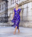 Printed midi dress with V-neckline and short sleeves
