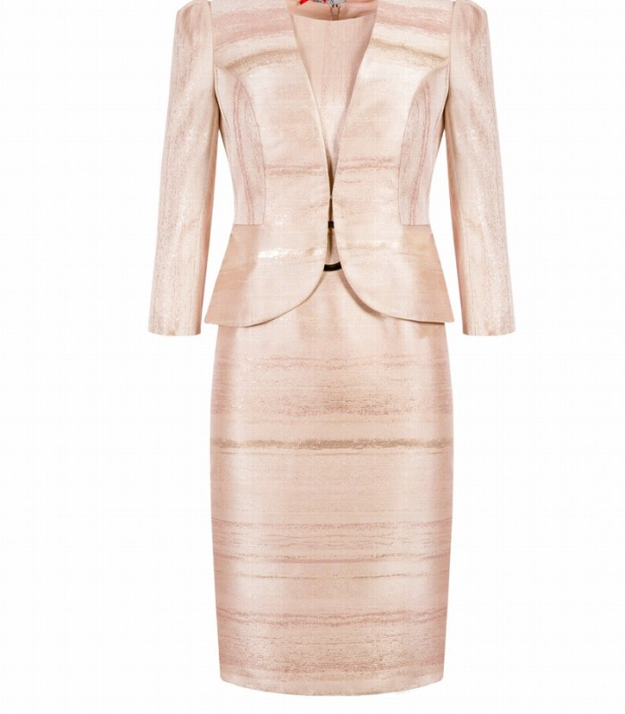 Buckle Belt Print Dress & Jacket Set
