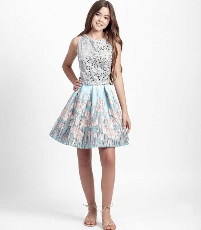 Mini skirt and sequin top set
