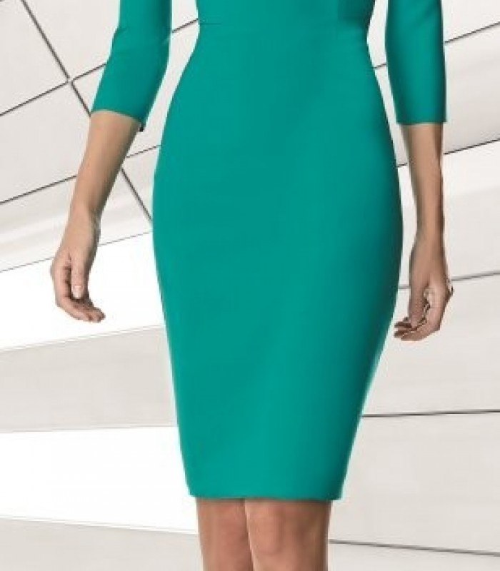 Short, straight dress with asymmetric neckline and ruched tulle