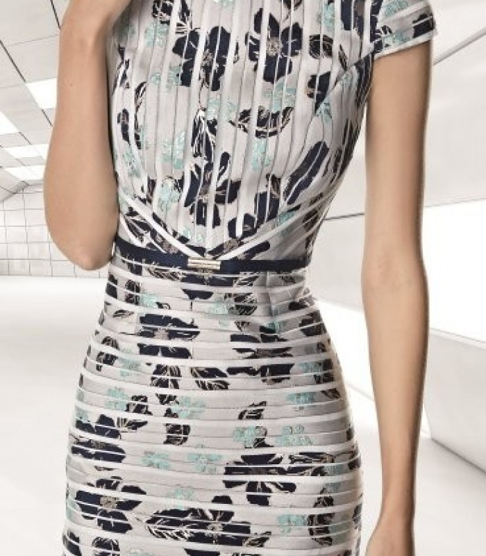 French sleeve jacket and print dress set
