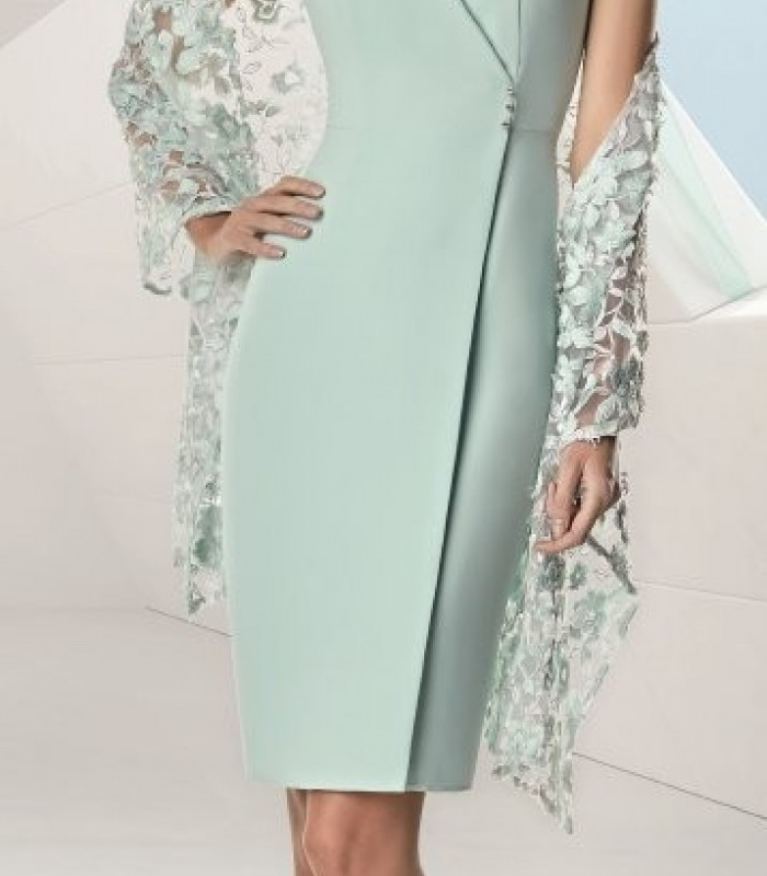 Set of wrap dress and stole with flower embroidery