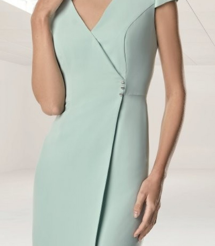 Short sleeve wrap dress with three side buttons