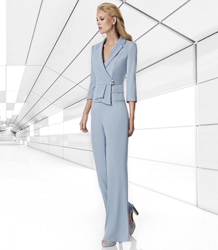 Conjunto de chaqueta top y pantalón largo estilo palazzo