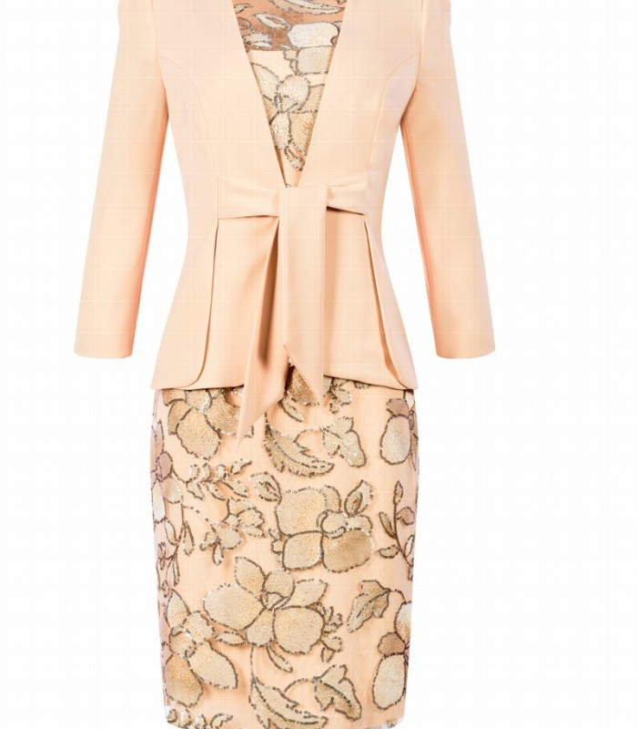Set of jacket with knot at waist and embroidered dress